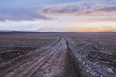 Road in volcanic desert Royalty Free Stock Images