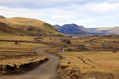 Road through volcanic field Royalty Free Stock Photos