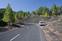 Road through volcanic landscape, La palma. Spain royalty free stock photo
