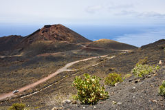 Road through volcanic landscape at  La Palma Royalty Free Stock Image
