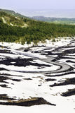 Road in volcanic landscape with snow. Lava and vegetation. royalty free stock photography