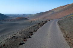Road in volcano area Royalty Free Stock Images