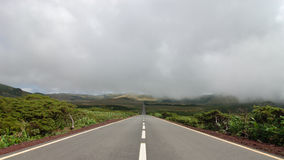 Road between the volcanoes. In azores, fayal, portugal Royalty Free Stock Image