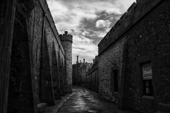 The road through the Vorontsov Palace, bw. The road through the Vorontsov Palace. Walls and towers of the fortress of a large stone, day. bw stock photo