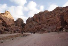 The road into Wadi Musa, Petra, Jordan. Walking along the road into Wadi Musa in Petra, Jordan Royalty Free Stock Photos