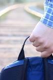 The road waits for me. The backpack in a hand Royalty Free Stock Photos