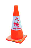 Road Warning Cone. Deep Orange Color Road Warning Cone With Works In Progress stock images