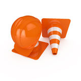 Road warning cone and helmet Royalty Free Stock Photo
