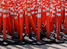Road Warning Cones. Pile of orange or red caution cones used in road construction Royalty Free Stock Photography