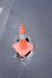 Road warning cones. Hole in the road warning cones Stock Photography