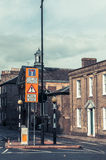 Road warning retractable electric Bollards ahead Royalty Free Stock Photo