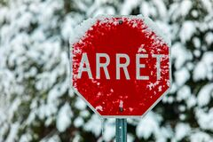Free Road Warning Sign After Snow Storm Stock Photos - 170863333