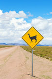 Road with warning sign Royalty Free Stock Image
