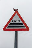 Road warning signs, Grid farm stock cattle Royalty Free Stock Photography