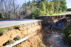 Road washed away after Hurricane Matthew Royalty Free Stock Images