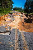 Road Washout. A washout in the road due to a hurricane Stock Photography