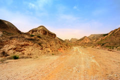 Road on wasteland. In guansu province of China Stock Images