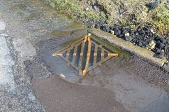 Road water drainage cover. Royalty Free Stock Photo