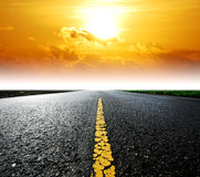 Road way background. Way background road destination sunset cloud sky beam Royalty Free Stock Image