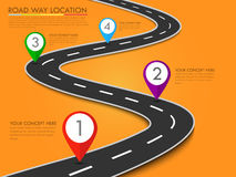 Road way location info-graphic template with pin pointer. Vector background Royalty Free Stock Images