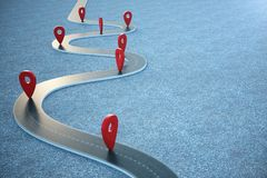 Road way location Infographic with pin pointers. Road way with red pointers. 3D illustration. Road way location Infographic with pin pointers. Road way with red vector illustration