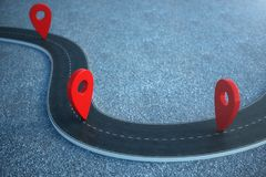 Road way location Infographic with pin pointers. Road way with red pointers. 3D illustration. Road way location Infographic with pin pointers. Road way with red royalty free illustration