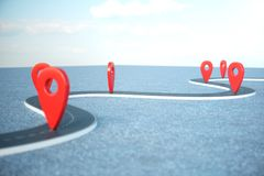 Road way location Infographic with pin pointers. Road way with red pointers. Road way on cloudy blue sky background. 3D. Road way location Infographic with pin vector illustration