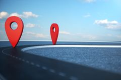Road way location Infographic with pin pointers. Road way with red pointers. Road way on cloudy blue sky background. 3D. Road way location Infographic with pin stock illustration
