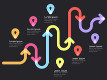 Road way location infographic template with a phased structure and pin pointer. Winding road timeline. Stylish Serpentine in the form of line arrows. Vector Stock Photography