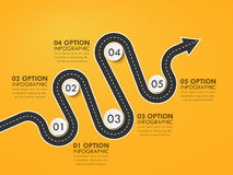 Road way location infographic template with a phased structure and pin pointer. Winding road timeline. Stylish Serpentine in the form of line arrows. Vector Stock Image