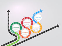 Road way location infographic template with a phased structure. Winding road timeline. Stylish Serpentine in the form of arrows. Vector EPS 10 Stock Image