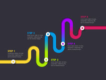 Road way location infographic template with a phased structure. Winding road timeline. Stylish Serpentine in the form of colorful line. Vector EPS 10 Royalty Free Stock Photography