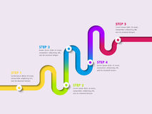 Road way location infographic template with a phased structure. Winding road timeline. Stylish Serpentine in the form of colorful line. Vector EPS 10 Stock Images