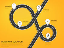 Road way location infographic template with pin pointer. Winding road on a colorful background. Stylish streamers. Vector EPS 10 Royalty Free Stock Photos