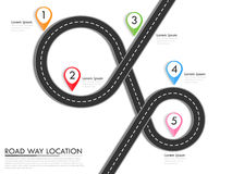 Road way location infographic template with pin pointer. Winding road on a colorful background. Stylish streamers. Vector EPS 10 Stock Image