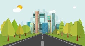 Road way to city buildings on horizon vector illustration, highway cityscape flat style Stock Photography