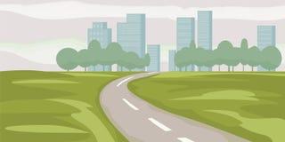 Road way to city buildings on horizon vector illustration, highway cityscape cartoon style, modern big skyscrapers town. Road way to city buildings on horizon vector illustration