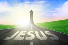 Road way to Jesus. Toll road showing up arrow direction with Jesus written on the asphalt vector illustration