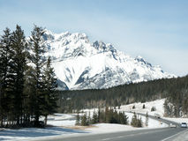 The Road West. Highway in the Rockies Stock Image