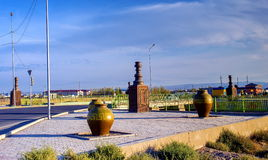 Road western europe western china. The sculpture near the highway Western Europe-Western China, near the city of Turkestan, Kazakhstan stock image