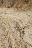 Road wet muddy of backcountry Royalty Free Stock Photo