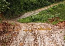 Road wet muddy Royalty Free Stock Photos