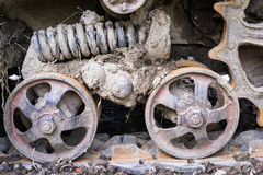 Road wheels of the continuous tracks. Close up. Royalty Free Stock Photo
