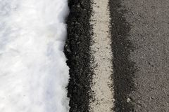 Road white line winter snow danger traffic Royalty Free Stock Photos