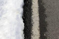 Road white line winter snow danger traffic. Road white lines winter snow danger traffic royalty free stock photos