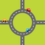 Road white marking and cartoon cars. Circle round crossroad. Design element set. Flat design. Stock Photography