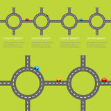 Road white marking and cartoon cars. Circle round crossroad set. Infographic timeline template.  Design element. Green grass backg Royalty Free Stock Photo