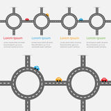 Road white marking and cartoon cars. Circle round crossroad set. Infographic timeline template.  Design element. White background. Royalty Free Stock Photo