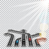 The road with a white marking, three-dimensional in perspective in the form of arrows with a shadow on the checker. Background. Cars. Sun rays. Abstract. Vector royalty free illustration