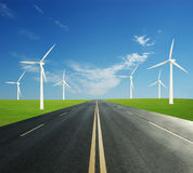 Road and wind power stations Royalty Free Stock Photos